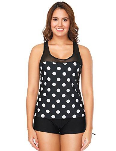Boyleg Set - Zexxxy Two Piece Swimsuit Boyleg Sport Swimwear for Women Size M Black Dot