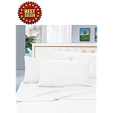 Celine Linen ® Wrinkle and Fade Resistant HIGHEST QUALITY 1800 Series Luxurious 4-Piece Bed Sheet Set, Deep Pocket up to 16 inch, Queen White