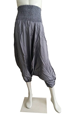Aladdin Junior Costumes (PAPAYA SHOP Women's Rayon Smocked Waist Harem Pants 2 in 1 (Gray))