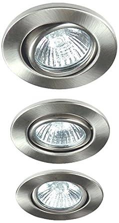 Ranex Visan - Set de 3 halógenos incrustables direccionables, acero satinado: Amazon.es: Iluminación