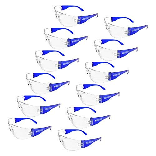 JORESTECH Eyewear Protective Safety Glasses, Polycarbonate Impact Resistant Lens Pack of 12 (Clear/Blue)
