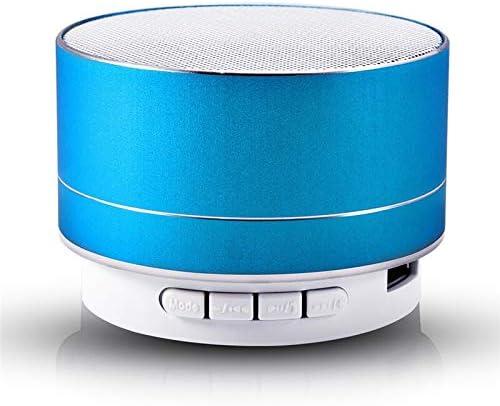 LANYAOWEN ミニスピーカースーパー低音のBluetoothスピーカーステレオ音楽サブウーファーポータブルLEDスピーカーハンズフリー通話FM TFカードラインイン (Color : Blue)