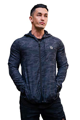 YoungLA Men's Hooded Running Track Jacket Lightweight with Pockets Camo Black Small -