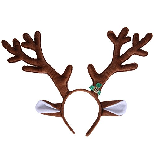 Vixen Reindeer Costumes (HDE Reindeer Antlers Headband with Ears and Bell Christmas Themed Holiday Wear)