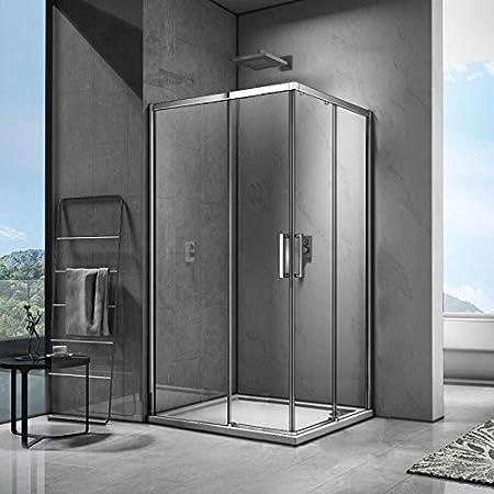 SPAZIO Space Box - Ducha Angular de 70 x 80 cm, 2 Puertas correderas Reversibles: Amazon.es: Hogar