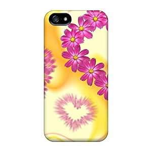 Fashionable Style Case Cover Skin For Iphone 5/5s- Hearts With Flowers
