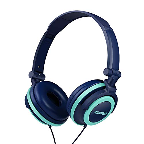 Kids Headphones Wired 3.5mm Jack with 85dB Volume Limited for Hearing Protection Foldable On Ear Headphones for Children Baby Teen Used on Cellphones Pad Computer PSP MP3/4 (Midnight Blue x Sky Blue)