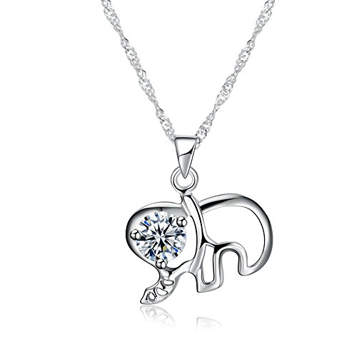 Price comparison product image LZD Sterling Silver Necklace Women's Pendant Drop AAA Zirconia 18 Inches 1MM Lobster Clasp B450