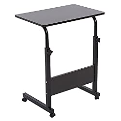 Height Adjustable Wooden Laptop Table Mobile Laptop Notebook Desk Mobile Laptop Desk Cart Mobile Workstation With Wheels(black)