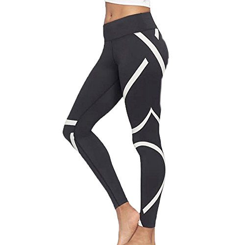 Clearance Sale! Women Pants WEUIE Womens Splice Yoga Skinny Workout Gym Leggings Fitness Sports Cropped Pants (L, Black)