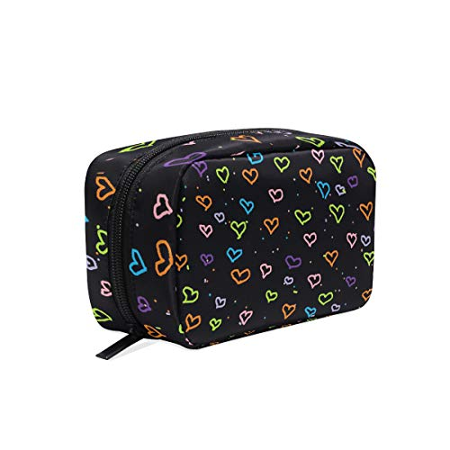 HU MOVR Makeup Organizer Cute Colorful Heart Womens Zip Toiletry Bag Large Case Cosmetic Bags ()