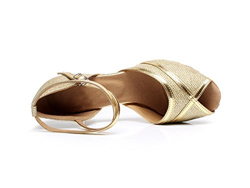Salsa Women's Low Miyoopark Tango Wedding Gold Glitter Latin Heel Sandals KQJ7080 6YUqfUw