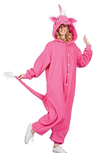 OvedcRay Adult Diva Una The Unicorn Horse Animal Pajamas Costume Jumpsuit Pink White