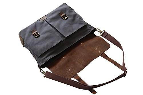 Devil Hunter Genuine Leather Vintage 18″ Laptop Canvas Messenger Satchel Briefcase Bag Grey 18″(L)x13″(H) x 4″(W)
