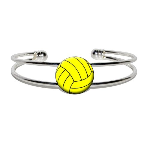 Water Polo Water Polo Ball - Novelty Silver Plated Metal Cuff Bangle Bracelet