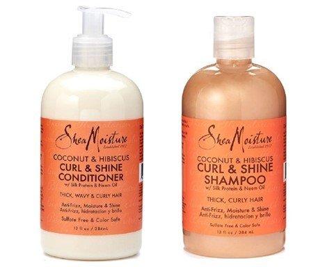 Shea Moisture Coconut & Hibiscus Curl & Shine Shampoo and Conditioner Set (Curl Shampoo Conditioner)