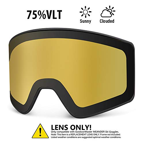 OutdoorMaster Meander Ski Goggles - Interchangeable Cylindrical Lens with Magnets & Lock, Anti-Fog & 100% UV400 Protection - for Men, Women & Youth - VLT 75% Polarized Yellow Replacement Lenses