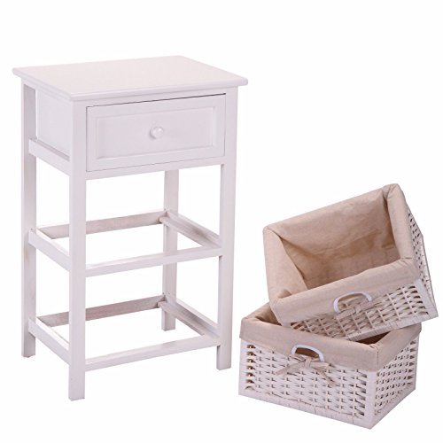 JAXPETY VD-54405HWWH Night Stand 3 Tiers 1 Drawer Bedside End Table Organizer Wood W/2 Baskets (White)