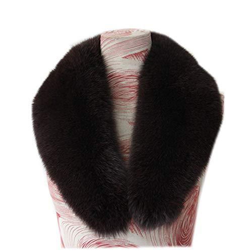 Gegefur New Large Long Detachable Natural Fox Fur Collar for Winter (90cm, dark brown-1)
