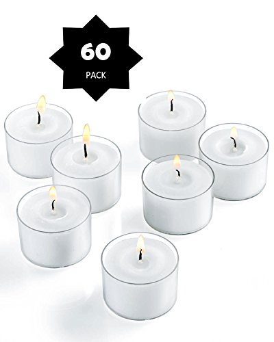 Plastic Candle Cups - 60 Pack Tealight Candles 8 Hours Long Burning in Clear Cups - Unscented - White (Set of 60)