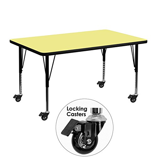 48' Rectangle Activity Table - Flash Furniture Mobile 30''W x 48''L Rectangular Yellow Thermal Laminate Activity Table - Height Adjustable Short Legs