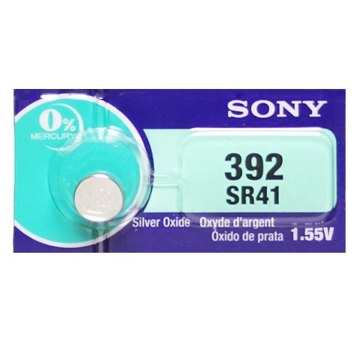 Sony 392 (SR41) 1.55V Silver Oxide 0%Hg Mercury Free Watch Battery (2 - Silver Sr41 Oxide