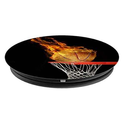 Hoop Swish Basketball On Fire On Black Background - PopSockets Grip and Stand for Phones and Tablets