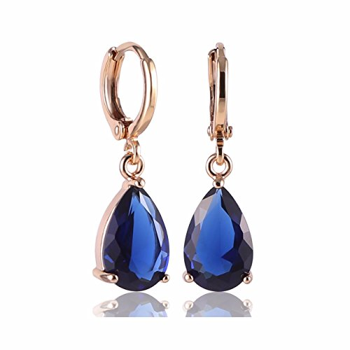 GULICX Gold Electroplated Blue Teardrop Crystal Cubic Zirconia Leverback Pierced Drop Earrings ()