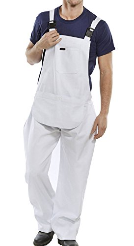 Rimi Hanger Mens Cotton Drill Bib and Brace Adult Painter Dungarees Work Trousers Overalls White Waist 32 inches