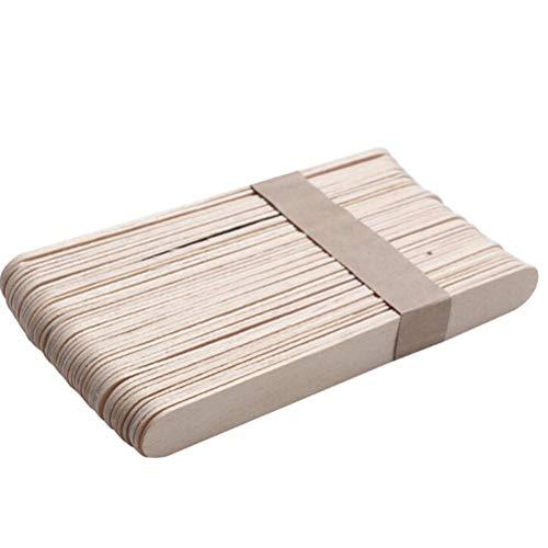 (Ioffersuper 50 Pcs Wooden Waxing Spatula Tongues Wax Depressor Disposable Bamboo Sticks)