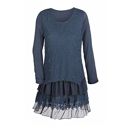 Women's Tunic Top - Star Lace Layered Navy Blue Long Sleeve Blouse - 2X