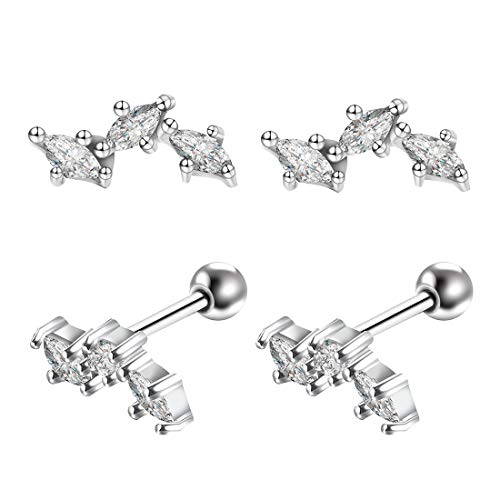 Cartilage Stud Earrings Surgical Steel - 2 Pcs Silver Tree/Crown Helix Piercing Jewelry with AAA Cubic Zirconia Diamond for Women, 16G/20G