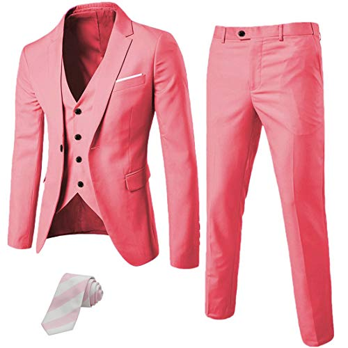 MY'S Men's 3 Piece Suit Blazer Slim Fit One Button Notch Lapel Dress Business Wedding Party Jacket Vest Pants & Tie Set Pink