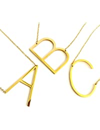 24K Gold Stainless Steel Initial Letter Necklaces Choker Fashion Pendants Alphabet Necklace (26 Letters A-Z)