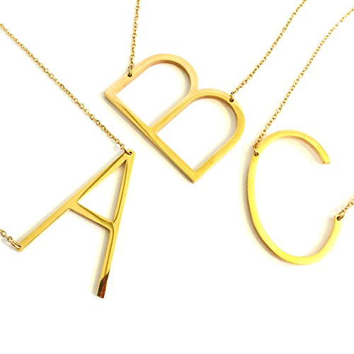 She's Wondrous Jewelry 24K Gold Stainless Steel Initial Letter Necklaces Choker Fashion Pendants Alphabet Necklace (26 Letters A-Z) (T)