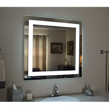 wall mounted lighted vanity mirror led mam82836 commercial grade 28 wide x 36 tall. Black Bedroom Furniture Sets. Home Design Ideas