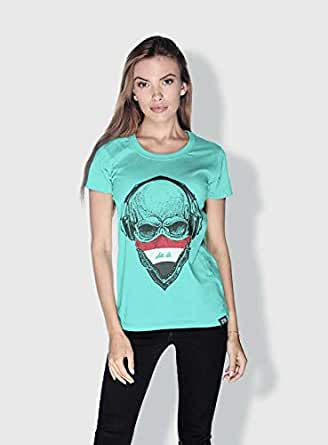 Creo Iraq Skull T-Shirts For Women - Xl, Green
