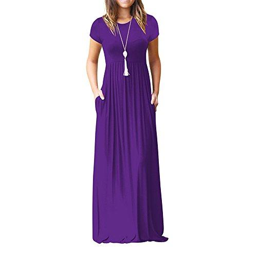 (Ulanda Long Maxi Dresses Women Short Sleeve Loose Plain Maxi Dresses Casual Long Dresses with Pockets)