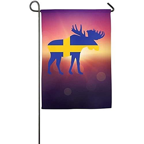 HUVATT Swedish Flag Moose Home Garden Flag Decorative Garden Home Welcome Demonstration -