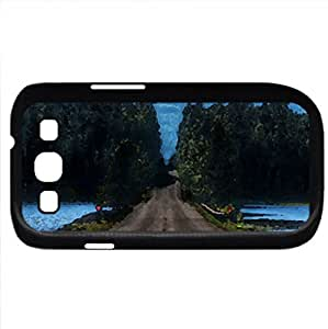 road in yellowstone montana (Forests Series) Watercolor style - Case Cover For Samsung Galaxy S3 i9300 (Black)