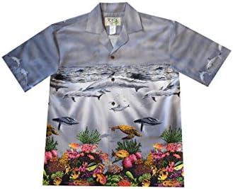 Hawaiian Aloha Ocean Life Fish Dolphins Honu Turtles Shirt