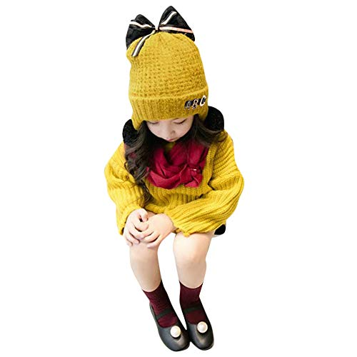 Baby Boy Winter Warm Knitted Earflap Hat Clearance Sale - Iuhan Toddler Girl Boy Baby Bowknot Crochet Knit Hat Beanie Hairball Earflap Cap (Yellow) ()