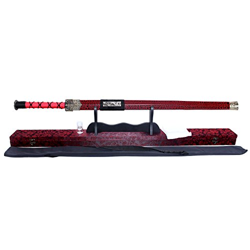 "Splendent Furniture Handmade Chinese ""LONGQUAN"" Sword Carbon Steel Blade with Wooden Holder/Stand 4 Colors Has been Edged (Red)"