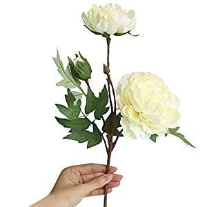 Bazahy Artificial Fake Flowers Artificial Silk Fake Flowers Peony Floral Wedding Bouquet Bridal Hydrangea Decor Wedding Home Party Hotel Home Decor (Beige) 95