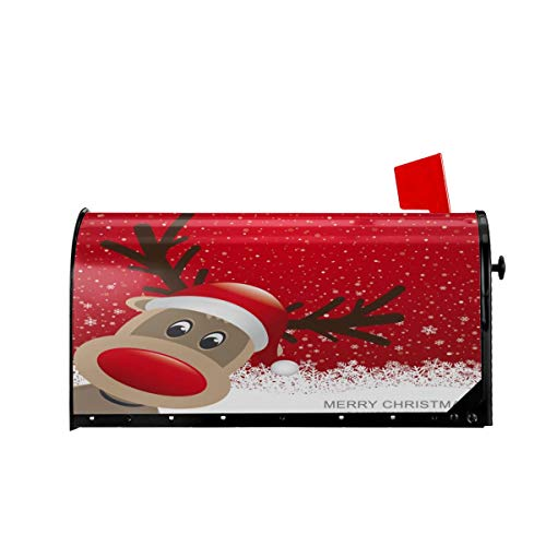 Foruidea Xmas Reindeer in Snowy Winter with Snowflake Merry Christmas Happy New Year Mailbox Covers Magnetic Mailbox Wraps Post Letter Box Cover Standard Oversize 21 X 18 Mailwrap Garden Home Decor (Mailbox Wraps Covers)