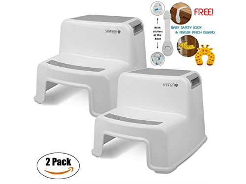 (Kids Step Stool By Sahara Baby: Dual Height Step Stool for Toddlers, Anti-Slip Rubber For Safety, Suitable For Kitchen or Potty Training in Bathroom With Door Pinch & Safety Lock Accessories (2 pack))