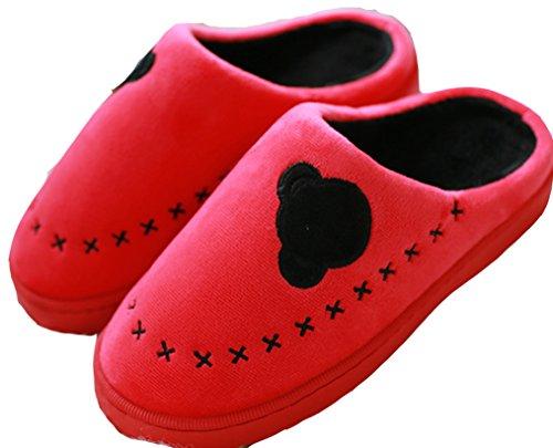Dsmor Womens Animal Peluche Pantofole Calde Pantofole Da Camera Casa Pantofole Rosse