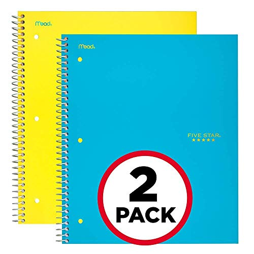 Subject Notebook (Five Star Spiral Notebooks, 5 Subject, College Ruled Paper, 200 Sheets, 11