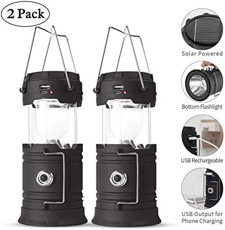 Lyricall Solar Camping Lantern Rechargeable USB,COB LED Lantern Flashlight 2 Power Supply Modes Survival Kit for Emergency, Hurricane, Power Outage 2 pack