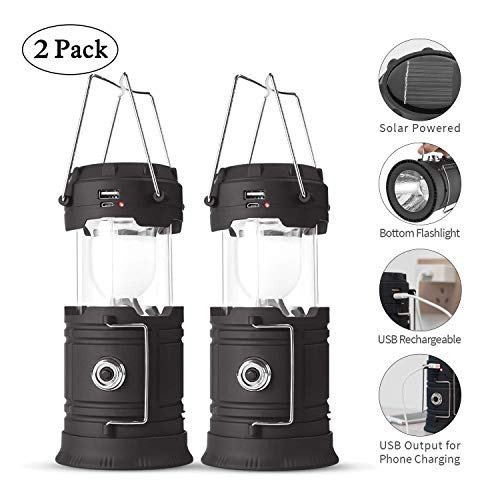 (Rechargeable LED Camping Lantern USB,COB Lantern Flashlight 2 Power Supply Modes Survival Kit for Emergency, Hurricane, Power Outage(2 pack))